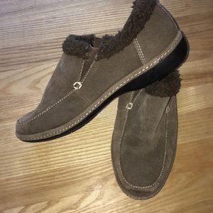 Suede lands end moccasin slip on